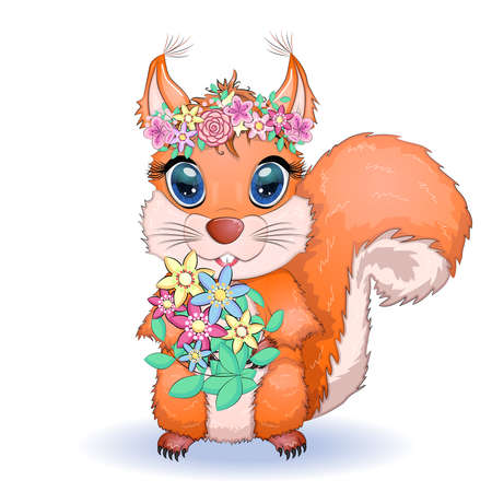 Couple of cute cartoon squirrel with beautiful eyes with flowers, wreath.