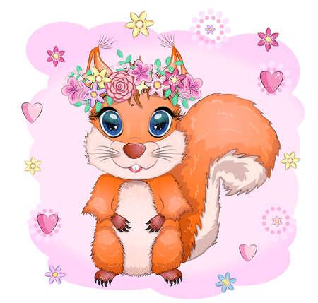 Cute cartoon squirrel with beautiful eyes on a background of flowers Illusztráció