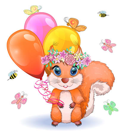 Pair of cute cartoon squirrel with beautiful eyes with balloons in the paw Illusztráció