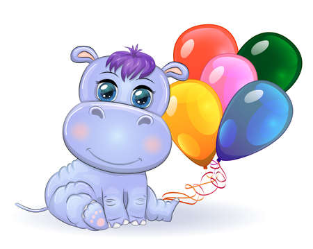Cute cartoon hippo with beautiful eyes with balloons, a boy and a girl. greeting card, baby shower invitation card.