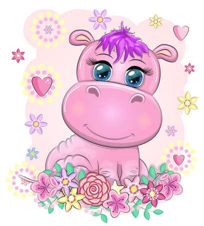 Cute hippo cartoon with beautiful eyes among flowers, hearts. print t-shirts, baby clothes fashion design, baby shower invitation card. Illusztráció