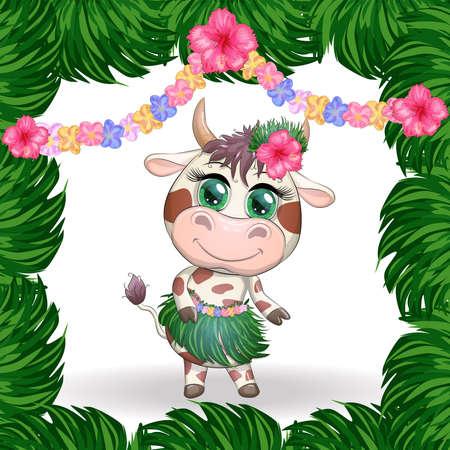 Cute cartoon bull, cow with beautiful eyes, character of a Hawaiian hula dancer among leaves, flowers. Chinese New Year Cute Bull Mascot Illusztráció
