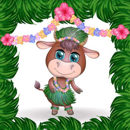 Cute cartoon bull, cow with beautiful eyes, character of a Hawaiian hula dancer among leaves, flowers. Chinese New Year Cute Bull Mascot Stock fotó