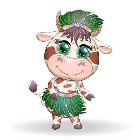 Cute ox, cow character of Hawaiian hula dancer. Cheerful ox dancing. 2021 Lunar Year animal symbol. Chinese new year Cute Bull mascot