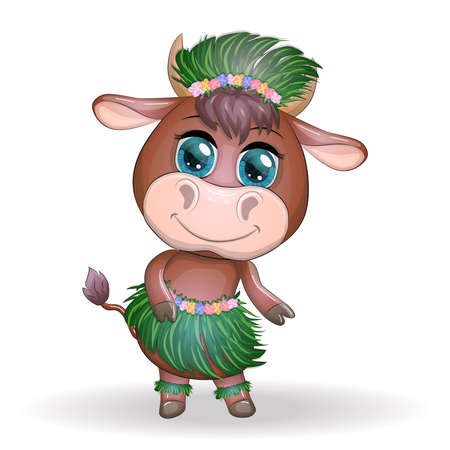 Cute bull, ox character of Hawaiian hula dancer. Cheerful ox dancing. 2021 Year animal symbol. Chinese new year Cute Bull mascot Illusztráció