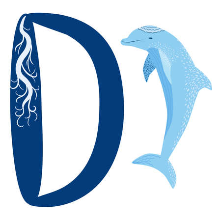 Letter D is Dolphin alphabet. English abc with animals Education on White background. Hand-drawn