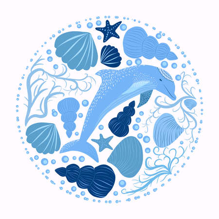 Cute colorful children's cartoon dolphin and marine elements isolated on a white background. illustration of an underwater creature. Hand-drawn