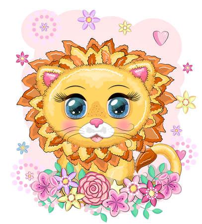Cute cartoon lion with big eyes in a bright children's style among flowers, hearts, wreaths Illusztráció