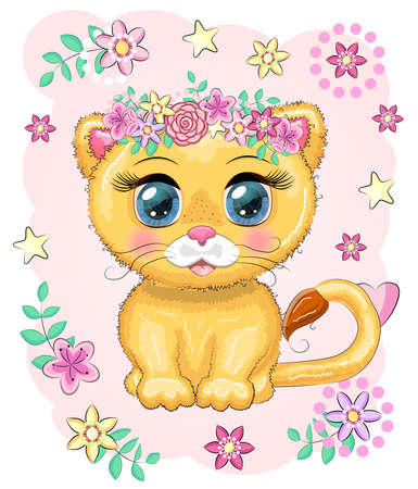 Cute cartoon lioness with big eyes in a bright children's style among flowers, hearts, wreaths Illusztráció