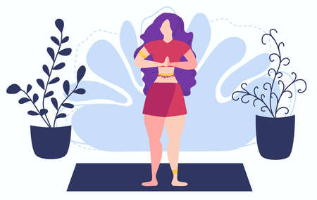 Girl at home in garden with plants growing in pots. Relaxed young woman enjoying rest. Girl meditates. flat cartoon style. Urban jungle. Meditation at Home