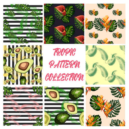 Set of 8 seamless pattern of tropical flowers green leaves of palm trees and flowers bird of paradis, hibiscus, avocado, monstera