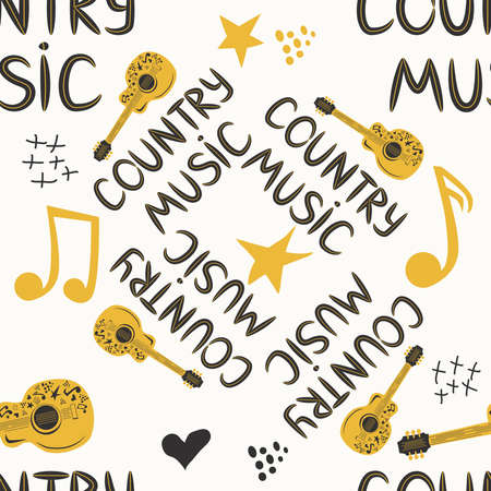 hand-drawn musical seamless pattern with the inscription country music and country guitar, stars, notes, symbols, objects and elements Banco de Imagens - 154631757