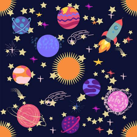Seamless outer space ufo rocket science kids background pattern. Banco de Imagens - 154631760