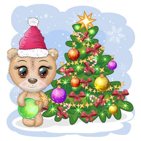 Cute cartoon bear with big eyes in a Christmas hat near a decorated Christmas tree, greeting card, New Year and Christmas. Illusztráció