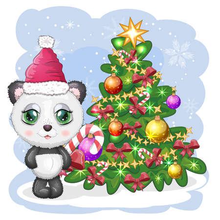 Cute cartoon panda bear with big eyes in a red Santa Claus hat with a caramel cane near the Christmas tree. Greeting card, New Year Illusztráció