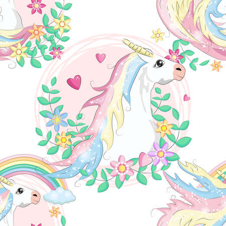 pattern with cute unicorns, clouds, rainbow and stars. Magic background with little unicorns. Banco de Imagens - 154631763