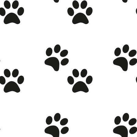 Black and white seamless pattern with paw prints. Abstract background, animal footprint Banco de Imagens - 154631769