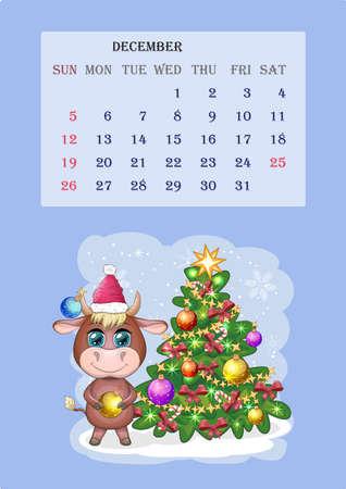 Calendar 2021. Cute bull and cow for month December Banco de Imagens - 155038926