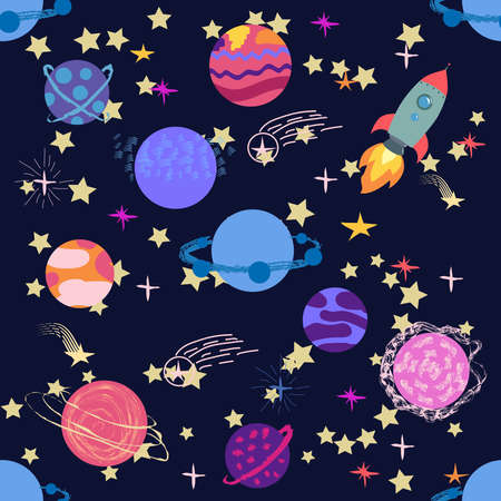 Seamless space pattern. Planets, rockets and stars. Cartoon spaceship icons. Hand drawn Banco de Imagens - 155038929