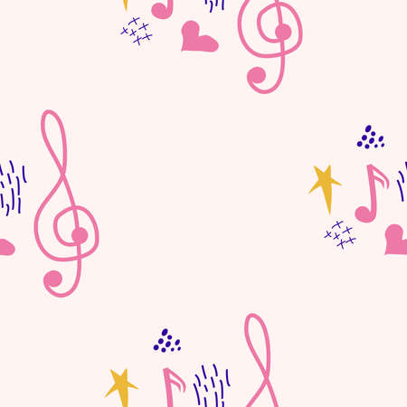 Treble clef, notes, heart, stars, abstract elements seamless pattern in pink, blue pastel colors. Music backdrop. Banco de Imagens - 155038931