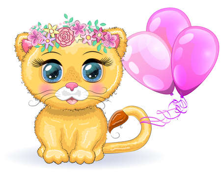 Cute cartoon lioness with big eyes in a children's bright style with balloons, greeting card