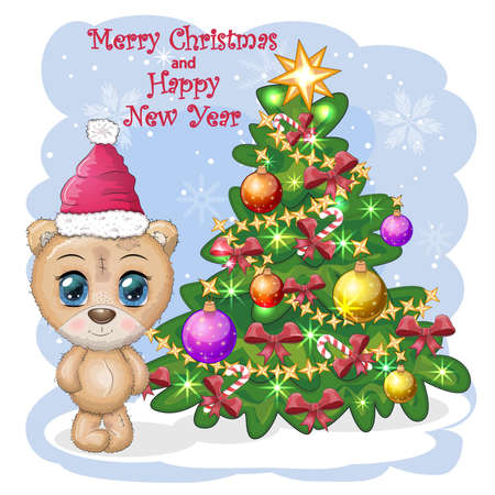 Cute cartoon bear with big eyes in a Christmas hat near a decorated Christmas tree, greeting card, New Year and Christmas. Banco de Imagens - 155038934