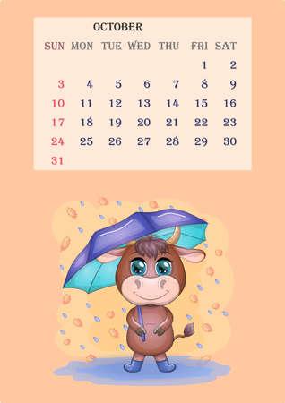 Calendar 2021. Cute bull and cow for October. Banco de Imagens - 155038936