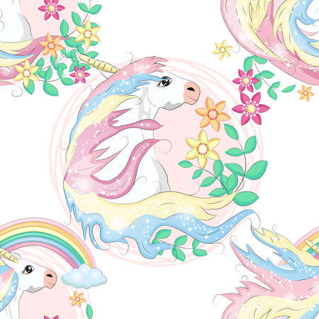 pattern with cute unicorns, clouds, rainbow and stars. Magic background with little unicorns. Banco de Imagens - 155038938