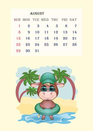 Calendar 2021. Cute bull and cow for August.