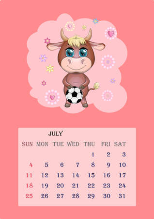 Calendar 2021. Cute bull and cow for July Banco de Imagens - 155038941