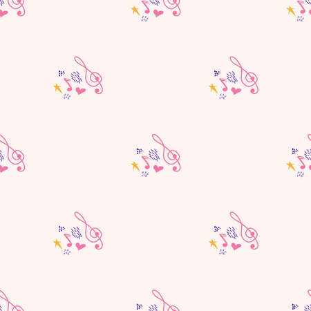 Cartoon cute hand drawn Musical seamless pattern. Colorful detailed. Bright colors backdrop with music symbols and items