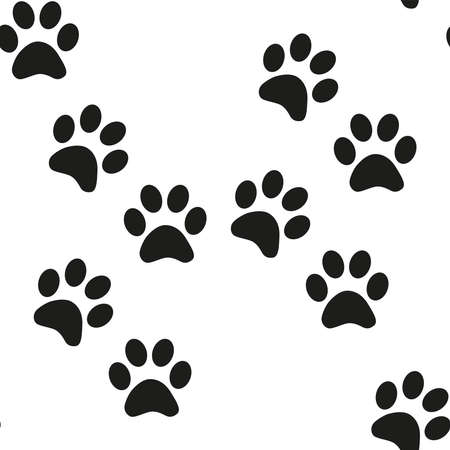 Black and white seamless pattern with paw prints. Abstract background, animal footprint Ilustração