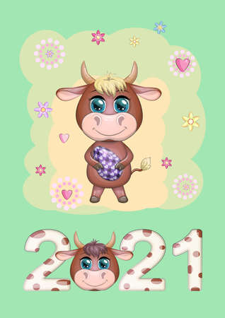 Calendar 2021. Cute bull and cow for cover.