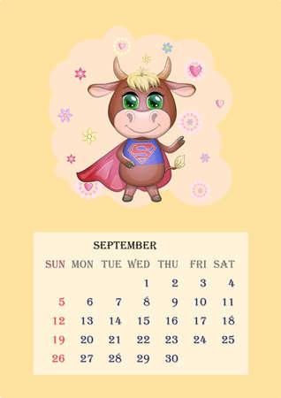 Calendar 2021. Cute bull and cow for September. Banco de Imagens - 155038950