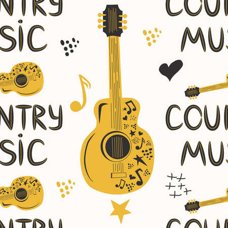 hand-drawn musical seamless pattern with the inscription country music and country guitar, stars, notes, symbols, objects and elements