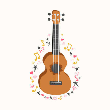 Cartoon ukulele with lettering text for summer, music poster template design. Small guitar with four-string guitar with notes, treble clefs. hand drawn style. Banco de Imagens - 155038952