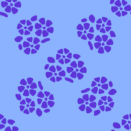 Colorful floral seamless pattern with simple flowers, cyan and blue tones, deep blue. Banco de Imagens - 155038960