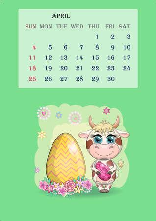 Calendar 2021. Cute cow for every month for April Banco de Imagens - 155038967