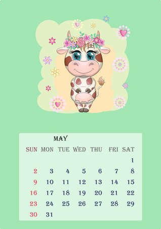 Calendar 2021. Cute cow for every month, for May Banco de Imagens - 155038975