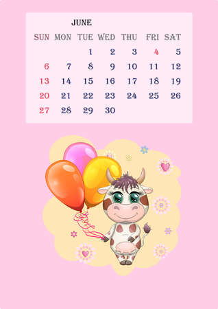 Calendar 2021. Cute cow for every month, for June