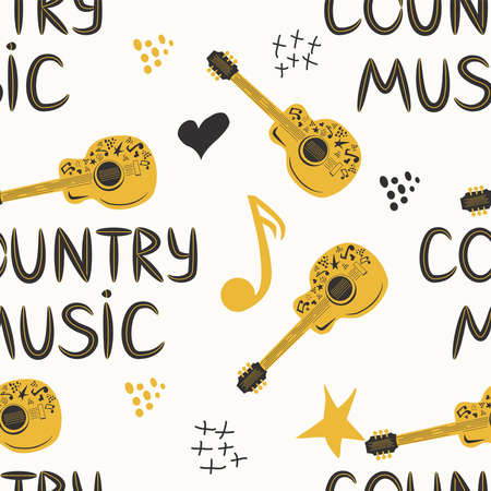 hand-drawn musical seamless pattern with the inscription country music and country guitar, stars, notes, symbols Banco de Imagens - 155038980