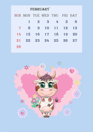 Calendar 2021. Cute cow for every month for February.