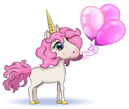 Cute magical unicorn holds balloons. Greeting card, concept, print, design. Banco de Imagens - 155038985