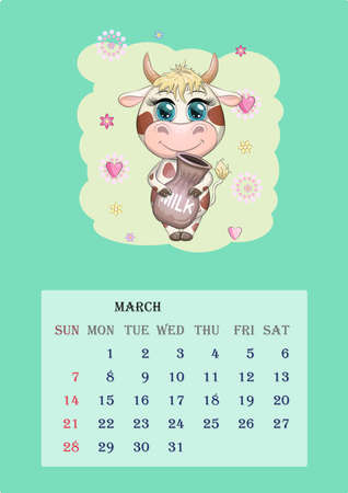 Calendar 2021. Cute cow for every month, for March Banco de Imagens - 155038989