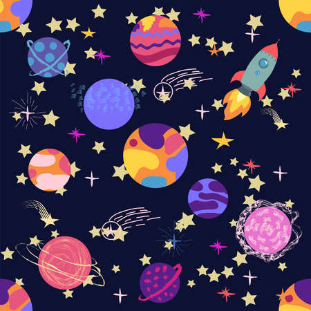 Seamless outer space ufo rocket science kids background pattern.