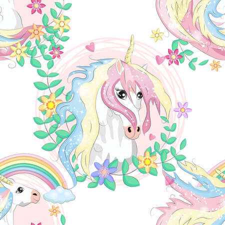 pattern with cute unicorns, clouds, rainbow and stars. Magic background with little unicorns. Banco de Imagens - 155038996