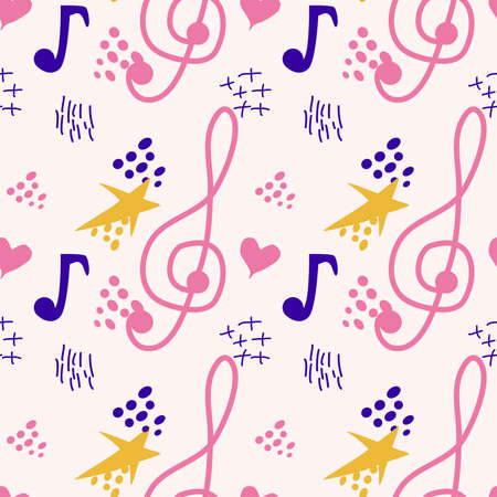 Abstract music notes seamless pattern background. musical illustration melody decoration Banco de Imagens - 155038999