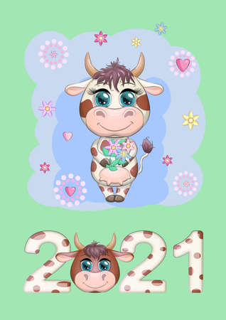 Calendar 2021. Cute cow for every month. Calendar 2021. Cute bull and cow for cover.
