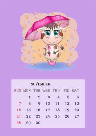 Calendar 2021. Cute cow for every month. Calendar 2021. Cute bull and cow for November. Ilustração