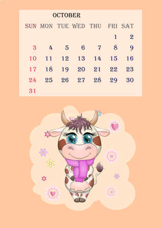Calendar 2021. Cute cow for every month. Cute bull and cow for October. Banco de Imagens - 155153594